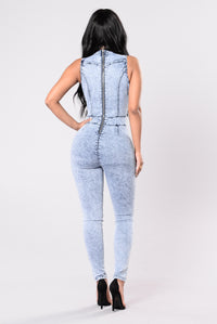I Know You Want It Jumpsuit - Acid Blue