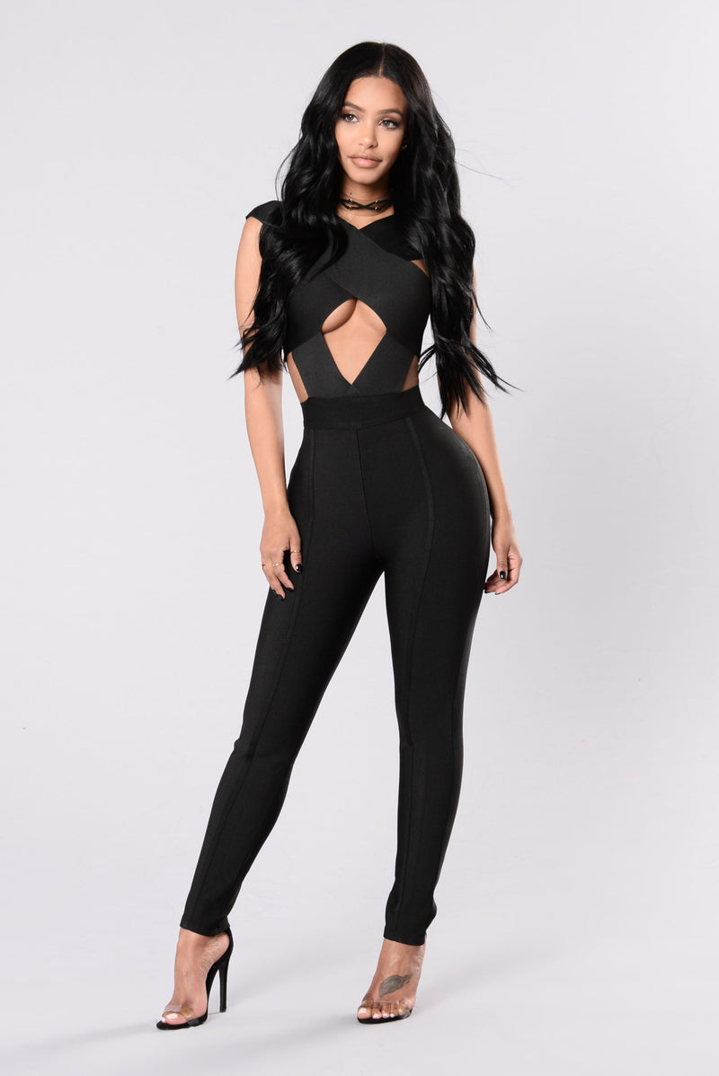 Fit To Kill Bandage Jumpsuit - Black