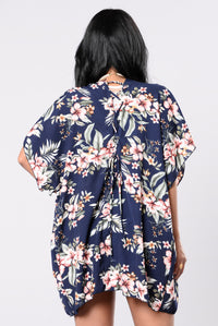 I Want You, I Need You Kimono - Navy Floral