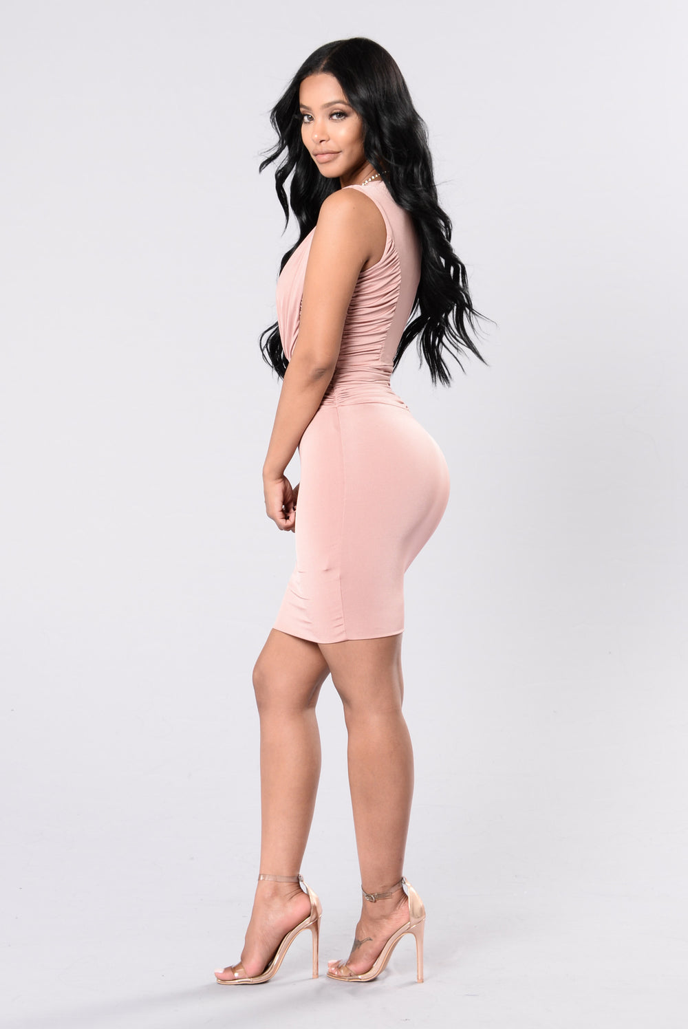 She Moves Like That Dress - Nude Mauve