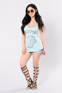 Sea Shells Top - Light Blue