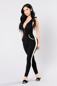 Undercover Angel Jumpsuit - Black/White