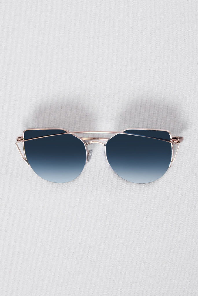 Just Be Your Selfie Sunglasses - Blue/Gold
