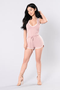 I Don't Fall Easily Romper - Blush/White