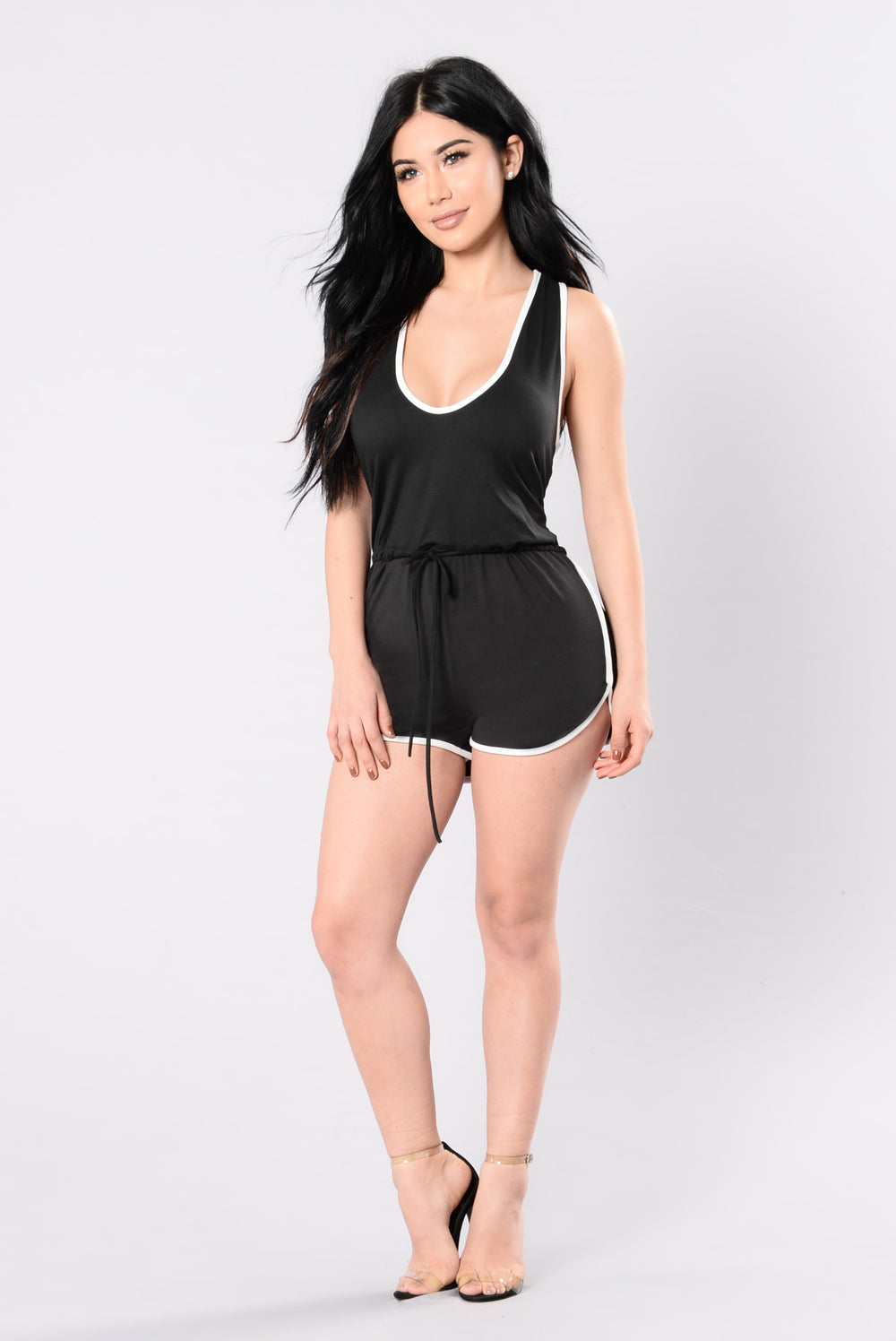 I Don't Fall Easily Romper - Black/White