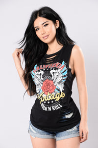 Vintage Rock N Roll Top - Black