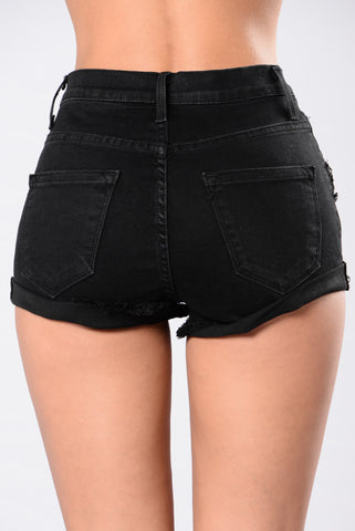 Longest Summer Denim Shorts - Black