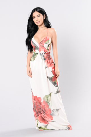 Sun Goddess Dress - Off White/Floral