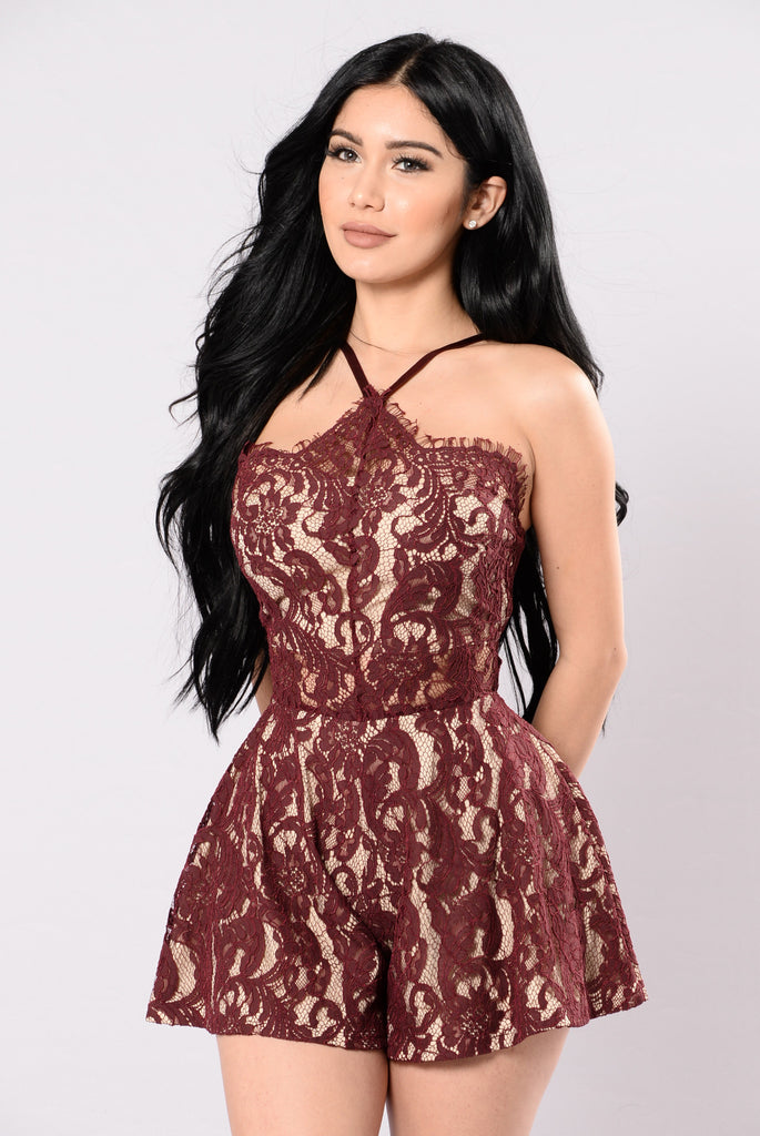 Sheer Me Out Romper - Plum Red