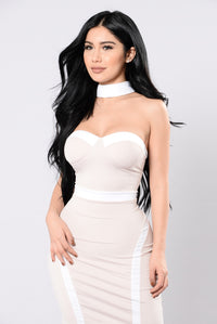 One For The Money Dress - Nude/White