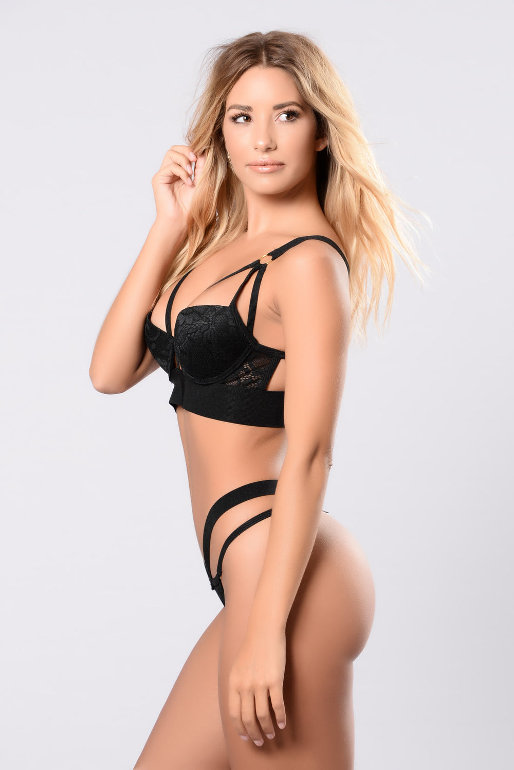 Hot black thong sets lingerie