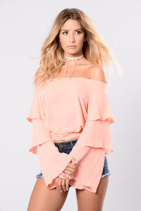 Ruffles And Bells Top - Dusty Coral