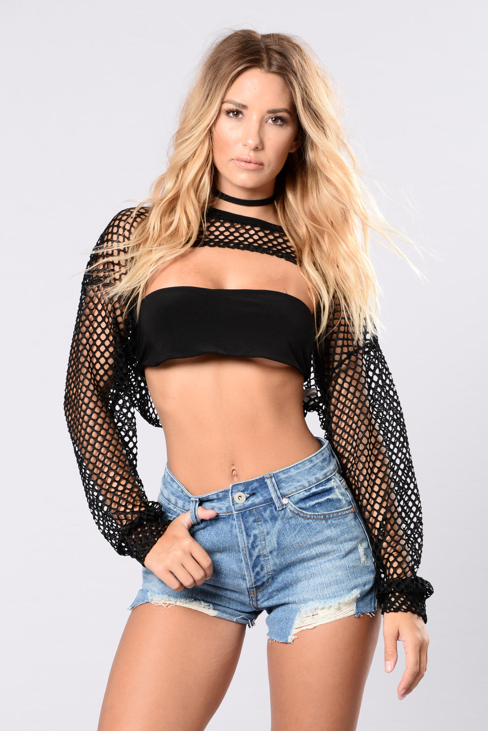 Fancy Problem Fishnet Top - Black