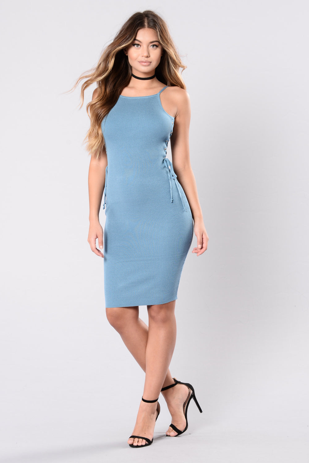 Come Out To Play Dress - Niagara Blue