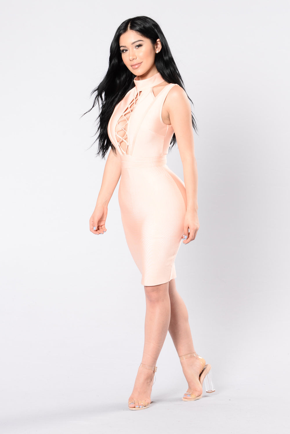 Vienna Bandage Dress - Peach