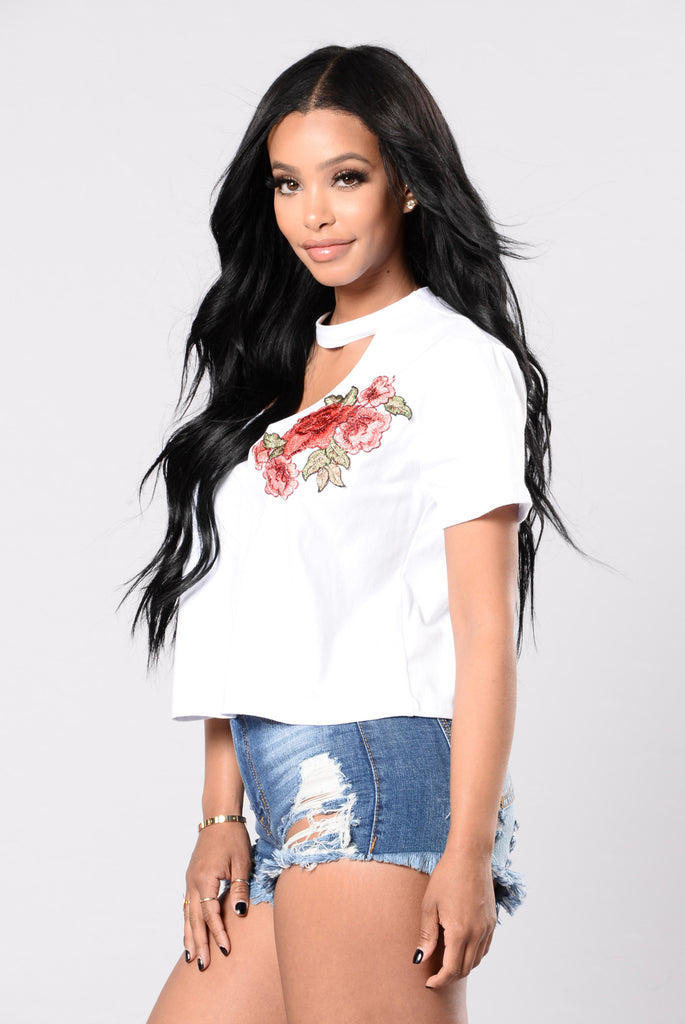 Rose On Top Tee - White