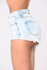 Cancel All Your Plans Shorts - Light Acid Wash