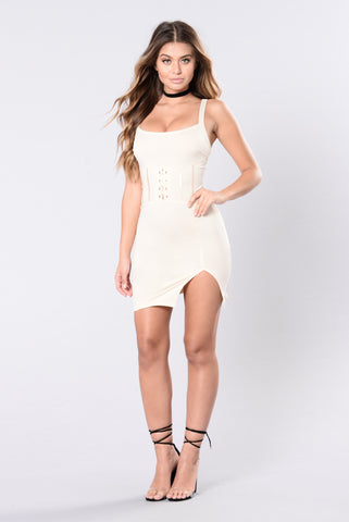 Stay A Little Bit Longer Dress - Nude