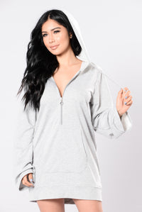 You Touch My Mind Tunic - Heather Grey