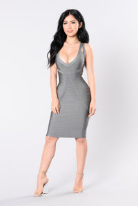 Tease Me Baby Bandage Dress - Grey Angle 1