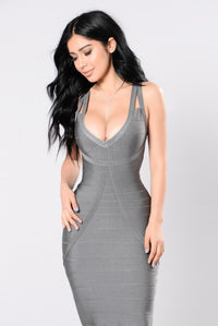 Tease Me Baby Bandage Dress - Grey Angle 2