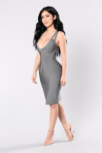 Tease Me Baby Bandage Dress - Grey Angle 4