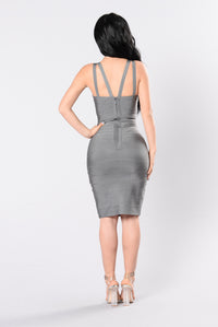 Tease Me Baby Bandage Dress - Grey Angle 3