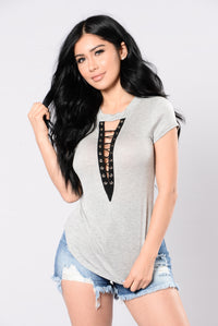 Sing To You Top - Heather Grey Angle 1