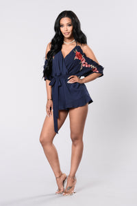 Dare You To Want Me Romper - Navy