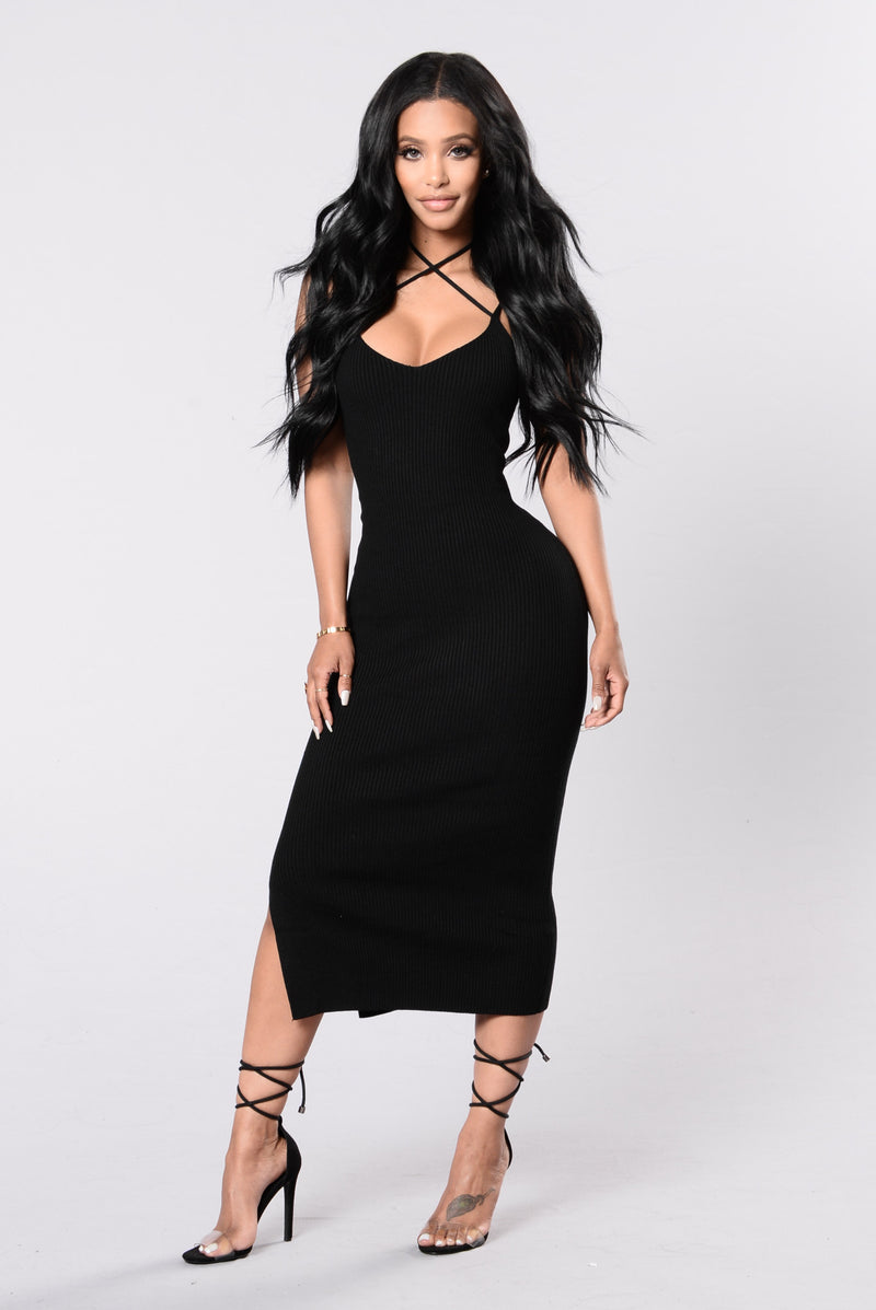 Wrapped Around My Finger Dress - Black
