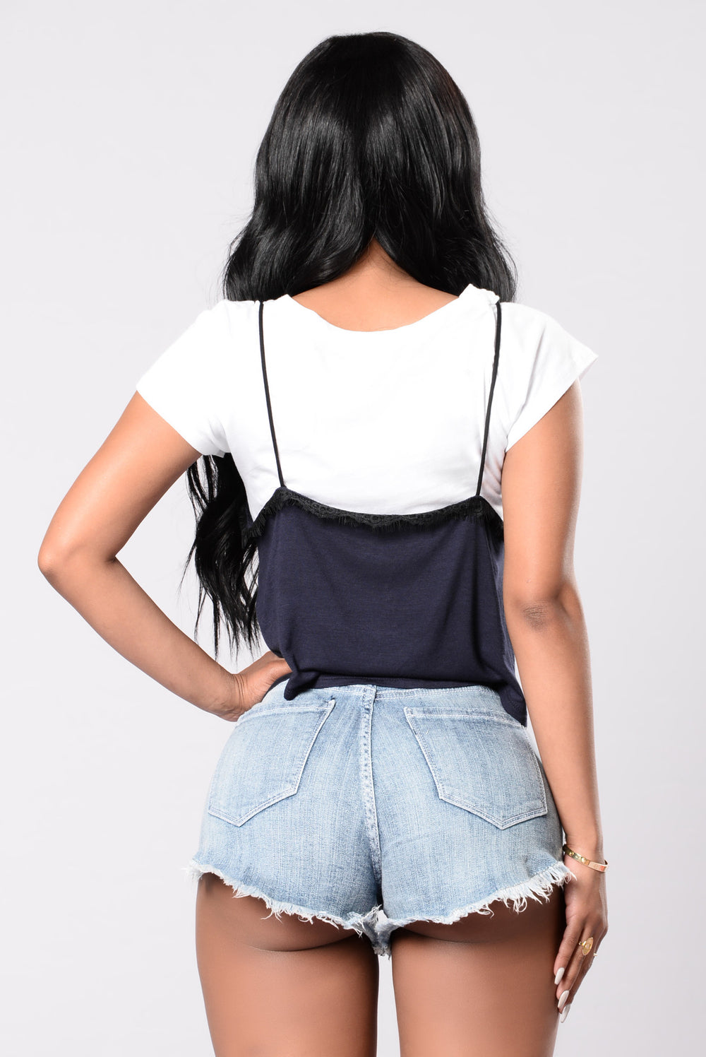 Trendy Lady Top - Ivory/Navy