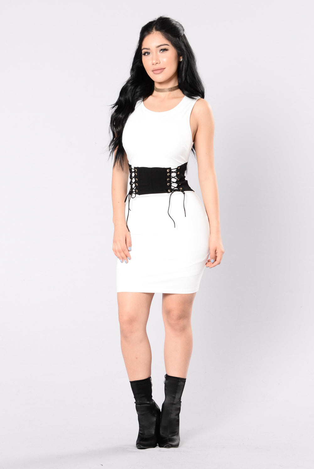 Come Here Rude Boy Dress - Off White/Black