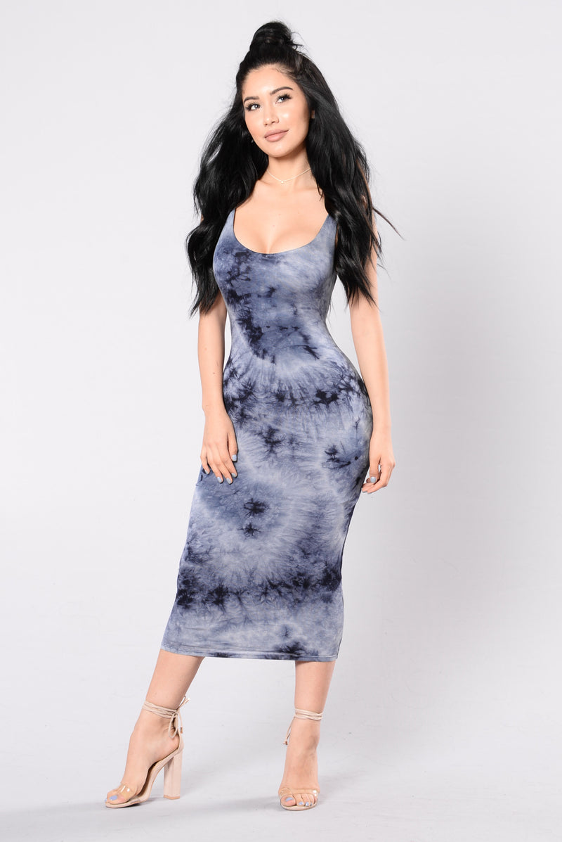 Tied In Dye Dress - Navy