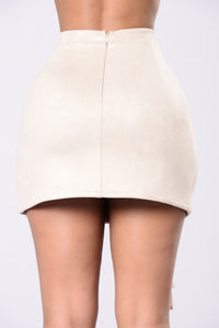 Down For The Hype Suede Skirt - Taupe