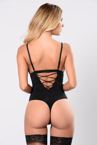 Black bodysuit thong teddy lingerie for women  Angle 2