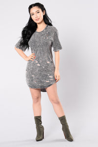 Only Yesterday Dress - Light Charcoal