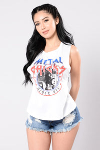 Metal Chicks Never Die Tee - White