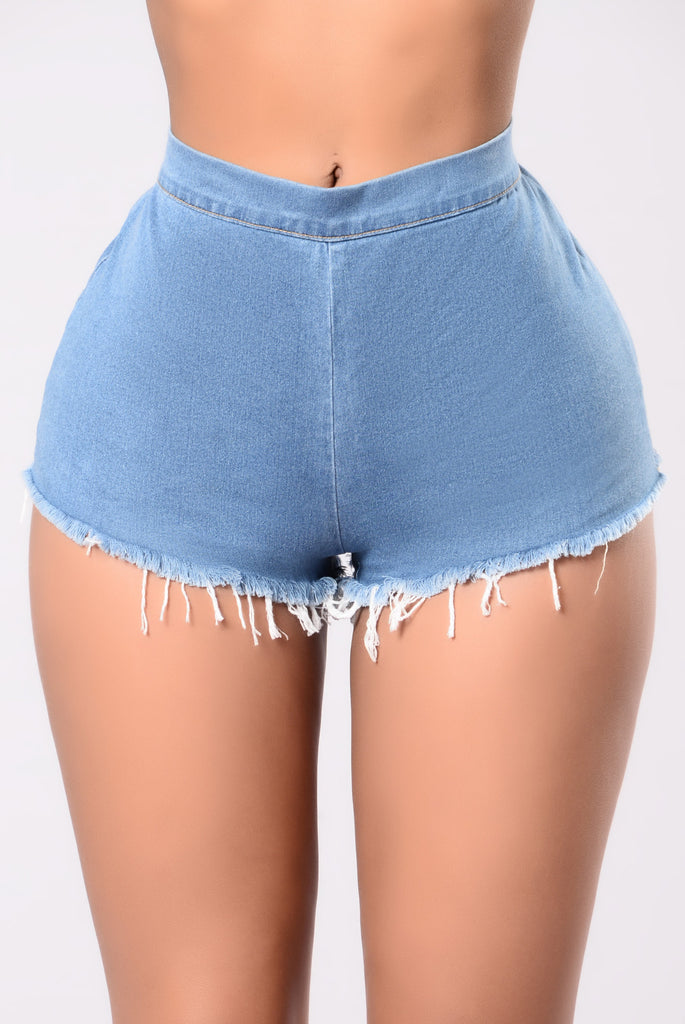 What Did He Say Shorts - Medium Wash