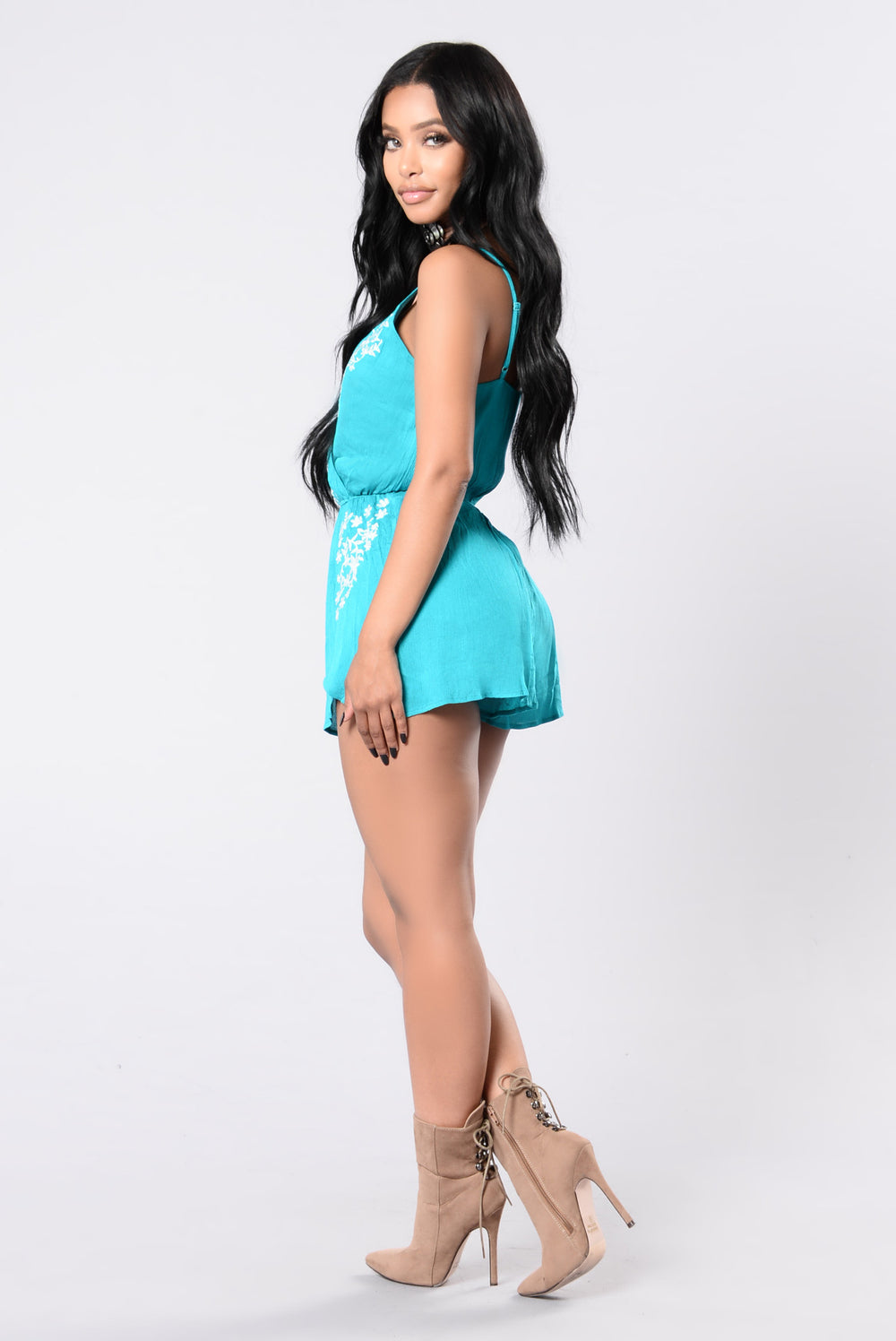 Wind Will Blow Romper - Teal