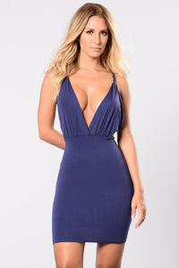 Riding The Wave Dress - Navy