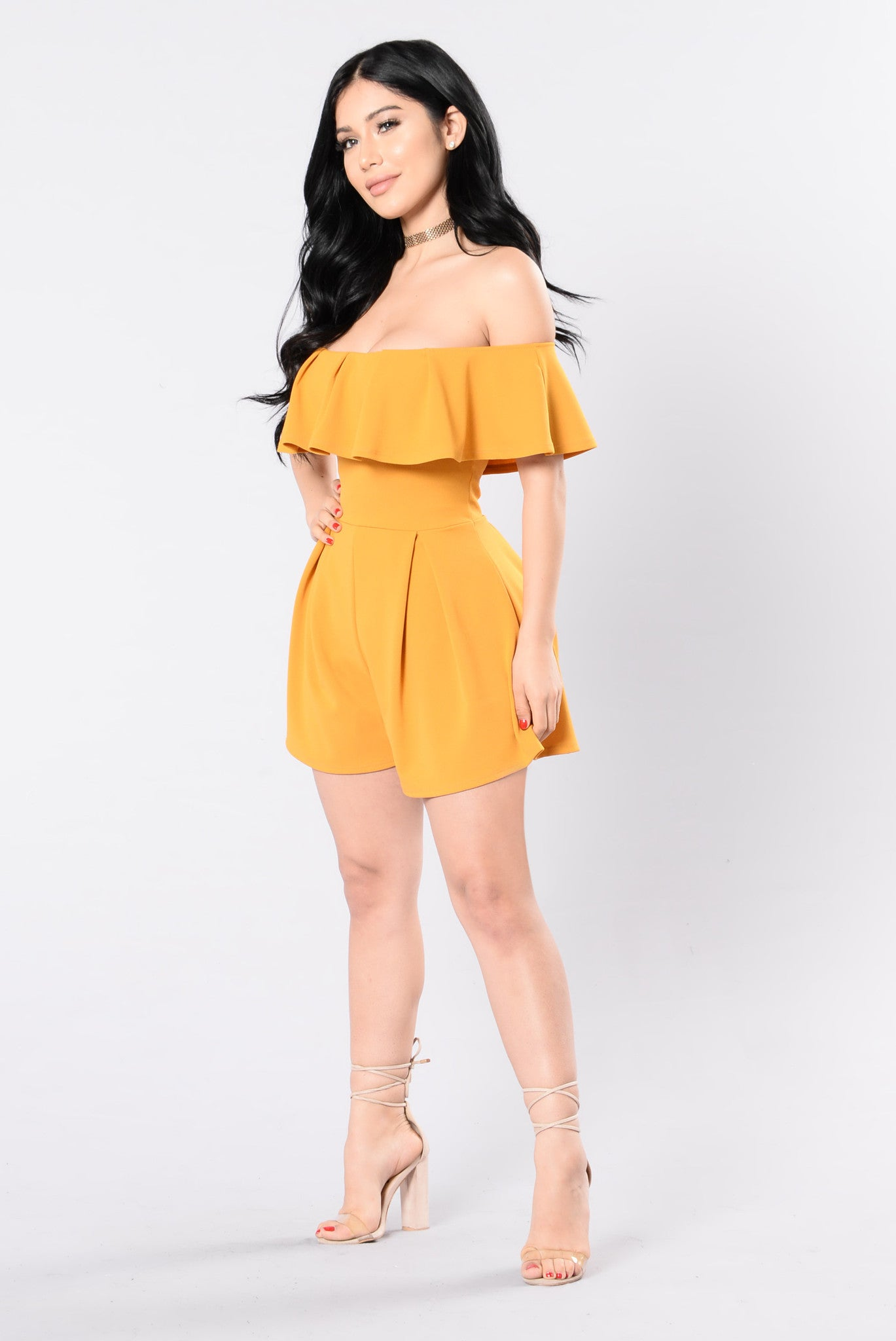 6310c046a306 In My Feelings Romper - Mustard