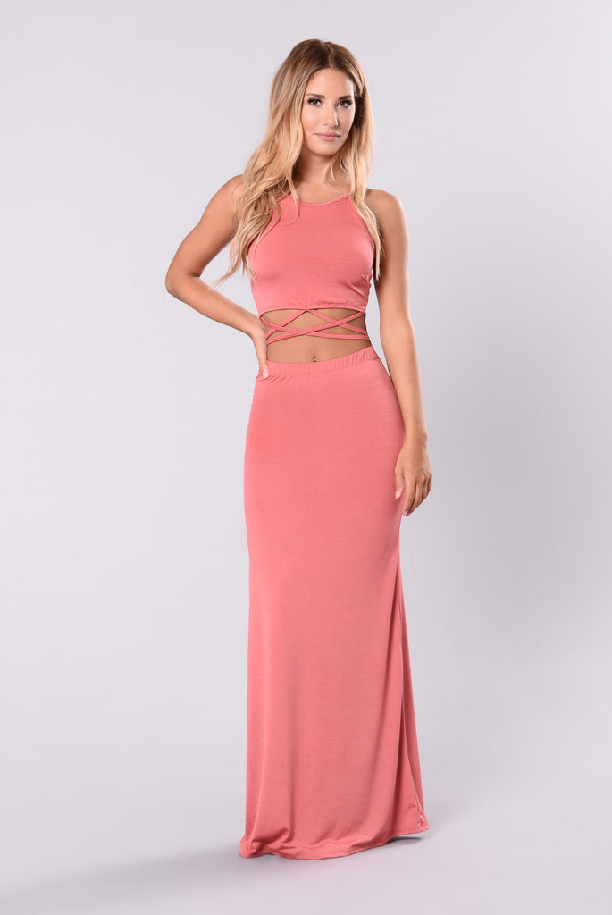 Feel A Little Rush Dress - Dusty Coral