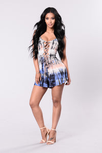 Got Me Twisted Romper - Blue