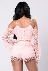 All Day In Crochet Romper - Blush
