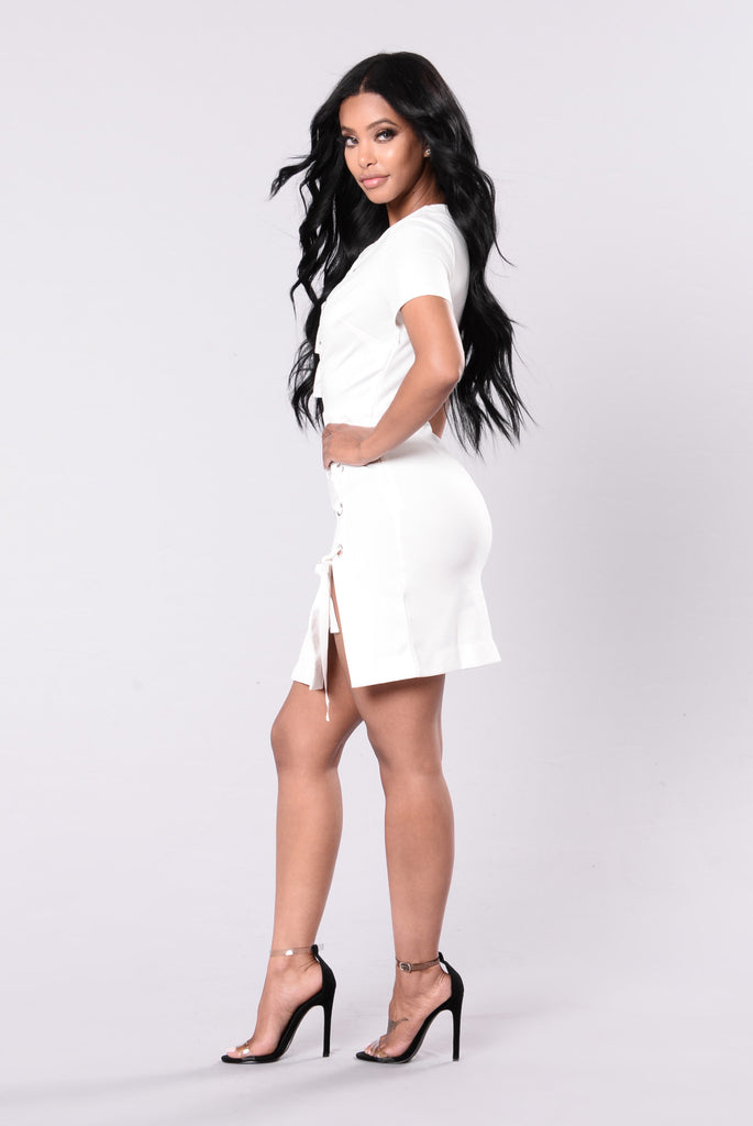 Can't Squad With Us Dress - White/Silver