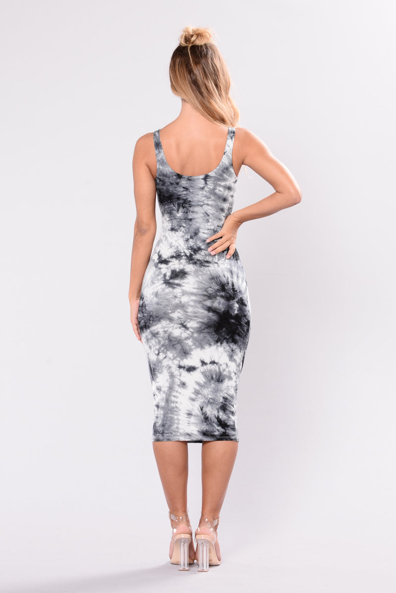 Tied In Dye Dress - Ivory