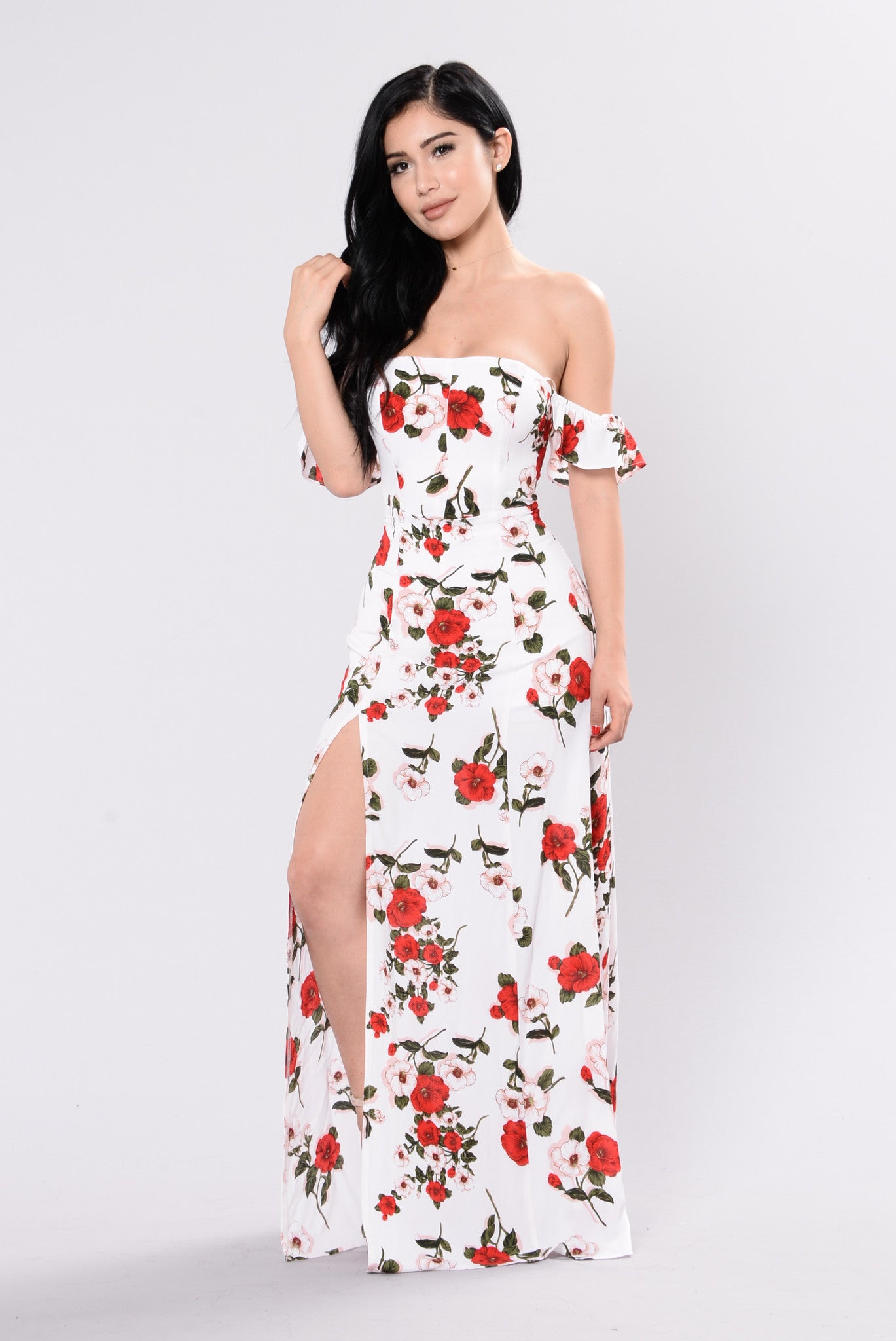 Maxi dress white and floral