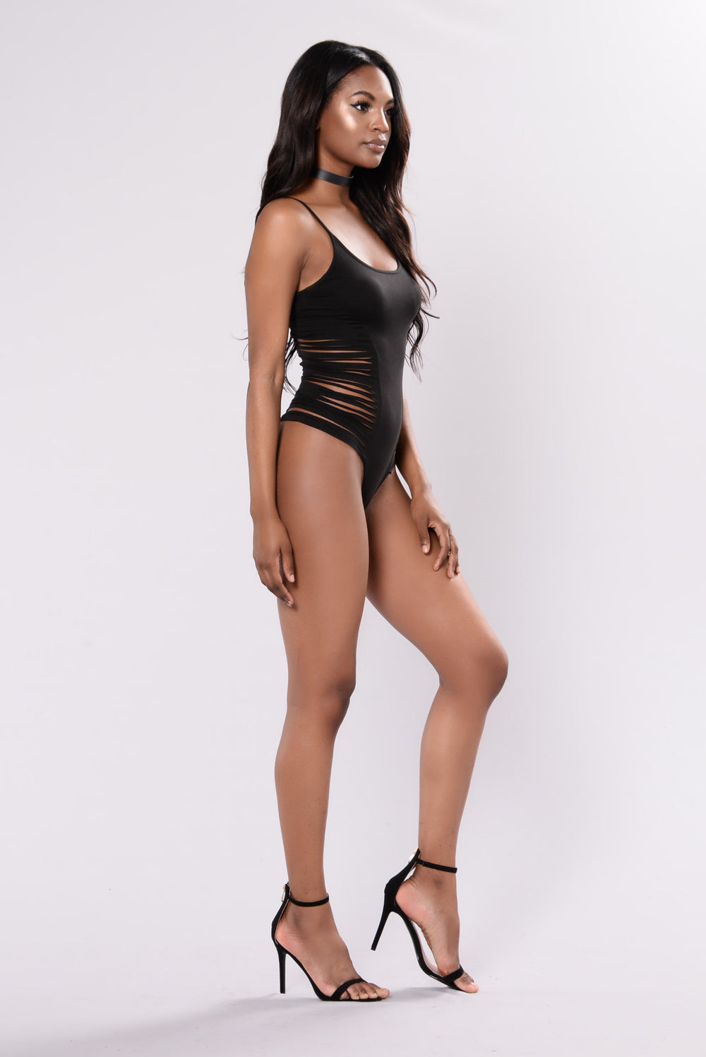 Sliced Bodysuit - Black