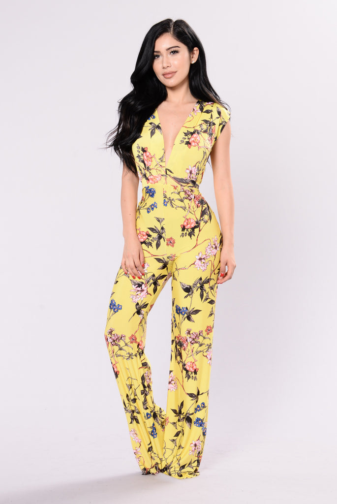 Diosa Floral Jumpsuit - Yellow