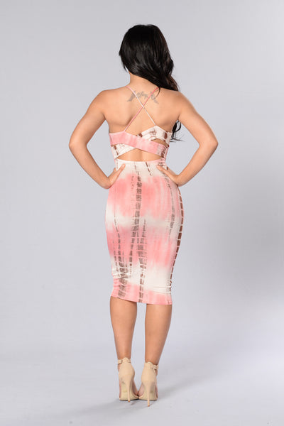Exotic Getaway Dress - Pink/Brown